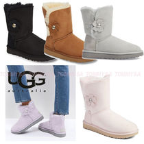 UGG Australia MINI BAILEY BOW Round Toe Casual Style Suede Plain Ankle & Booties Boots
