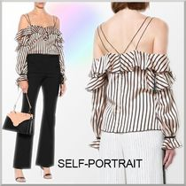 SELF PORTRAIT Stripes Medium Elegant Style Bandeau & Off the Shoulder