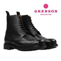 Grenson Wing Tip Plain Leather Boots