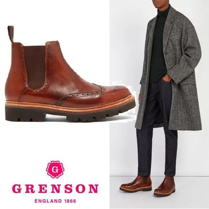 Wing Tip Plain Leather Chelsea Boots Chelsea Boots