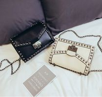 Casual Style Studded PVC Clothing Shoulder Bags