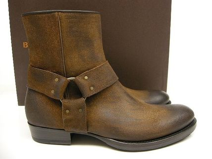 Buttero Plain Toe Suede Engineer Boots