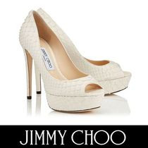 Jimmy Choo Open Toe Platform Plain Leather Python Elegant Style