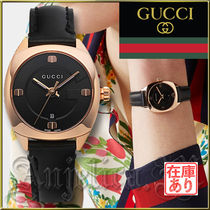 GUCCI Leather Square Quartz Watches Analog Watches