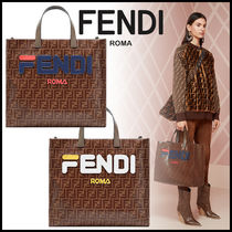FENDI Monogram A4 Leather Elegant Style Totes