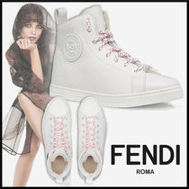 FENDI Rubber Sole Lace-up Casual Style Plain Leather
