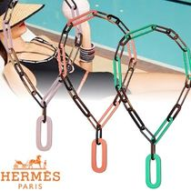 HERMES Blended Fabrics Chain Elegant Style Necklaces & Pendants