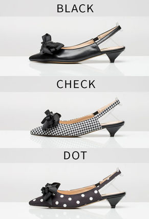 Dots Plain Office Style Pointed Toe Pumps & Mules