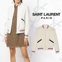 Saint Laurent Short Casual Style Street Style Plain Varsity Jackets