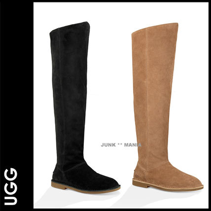 Plain Toe Casual Style Suede Plain Over-the-Knee Boots