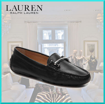 Round Toe Casual Style Plain Leather Loafer Pumps & Mules