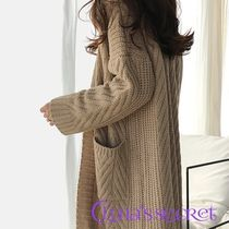 Long Sleeves Plain Long Gowns Elegant Style Cardigans