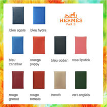 HERMES Calvi Unisex Calfskin Plain Card Holders