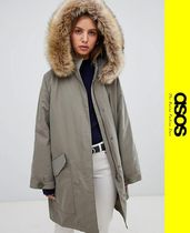 ASOS Casual Style Faux Fur Blended Fabrics Parkas