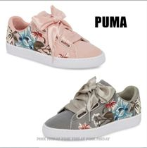 PUMA BASKET HEART Flower Patterns Round Toe Rubber Sole Lace-up Casual Style
