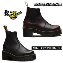 Dr Martens ROMETTY Platform Round Toe Plain Leather Chelsea Boots