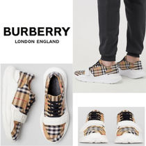 Burberry Other Check Patterns Sheepskin Sneakers