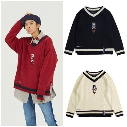 ROMANTIC CROWN Knits & Sweaters Unisex Street Style V-Neck Long Sleeves Oversized