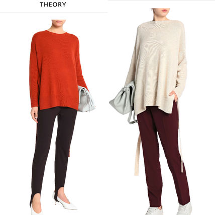 Crew Neck Casual Style Cashmere Rib Plain Puff Sleeves