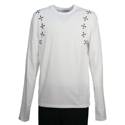 Crew Neck Star Street Style Long Sleeves Cotton