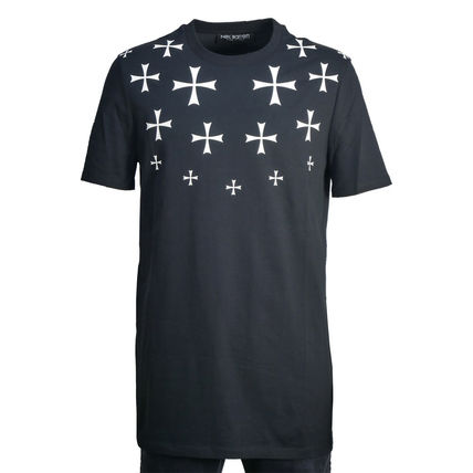 Crew Neck Star Street Style Cotton Short Sleeves