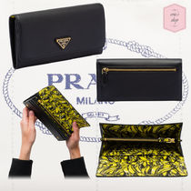 PRADA Tropical Patterns Plain Leather With Jewels Long Wallets