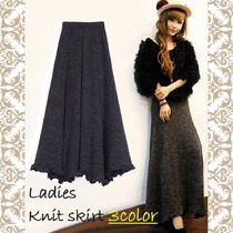 Flared Skirts Casual Style Plain Long Bold Maxi Skirts