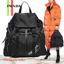 PRADA Casual Style Unisex Nylon Blended Fabrics A4 Bi-color Plain