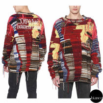 Off-White Crew Neck Unisex Low Gauge Street Style Long Sleeves Cotton