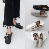 Square Toe Rubber Sole Casual Style Faux Fur Plain Flats