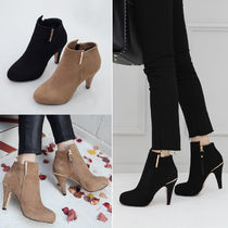 Round Toe Suede Plain Pin Heels Elegant Style