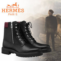 HERMES Leather Bold Engineer Boots