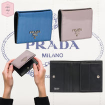 PRADA Plain Leather With Jewels Folding Wallets