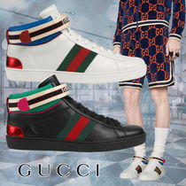 GUCCI Ace Stripes Street Style Plain Leather Sneakers