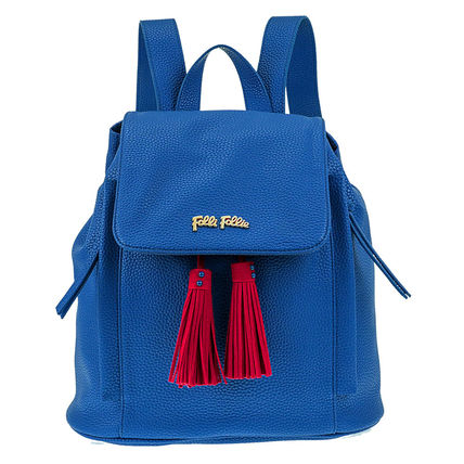 Casual Style Street Style Bi-color Plain Fringes Backpacks