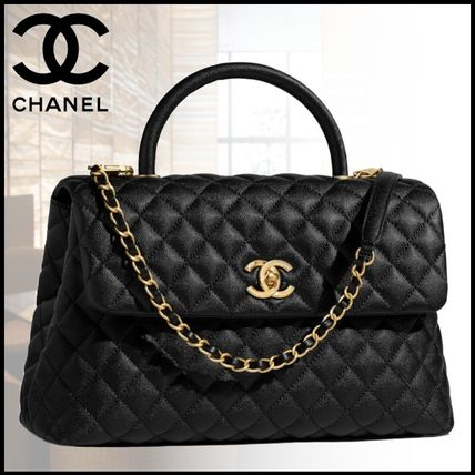 CHANEL 2018-19AW Blended Fabrics Chain Office Style Handbags (A92992 ... f0239b42df