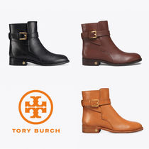 Tory Burch Round Toe Rubber Sole Casual Style Plain Leather