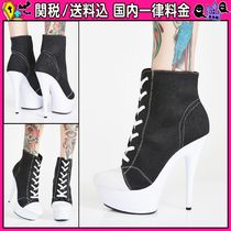 DOLLS KILL Round Toe Lace-up Casual Style Bi-color Pin Heels