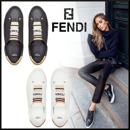 Stripes Plain Toe Rubber Sole Casual Style Studded