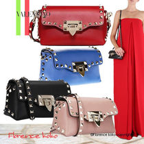 VALENTINO Calfskin Studded Plain Party Style Shoulder Bags
