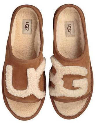UGG Australia Open Toe Sheepskin Plain Shoes