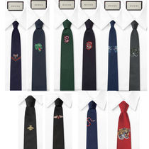 GUCCI Silk Blended Fabrics Other Animal Patterns Ties
