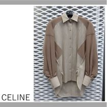 CELINE Bi-color Long Puff Sleeves Shirts & Blouses