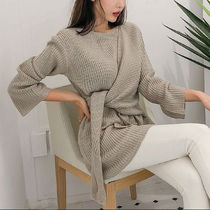 Cable Knit Casual Style Boat Neck Long Sleeves Plain Long