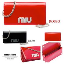 MiuMiu 2WAY Chain Plain Leather Party Style Clutches
