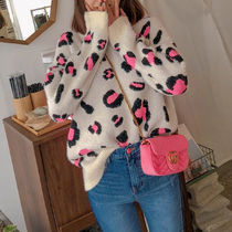 Crew Neck Cable Knit Leopard Patterns Casual Style