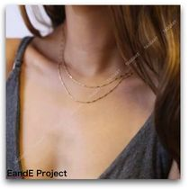 E and E PROJECT Casual Style Chain Handmade Silver 14K Gold Fine