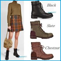 UGG Australia Round Toe Lace-up Casual Style Plain Leather Lace-up Boots