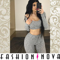 FASHION NOVA Short Casual Style Rib U-Neck Long Sleeves Plain Cropped