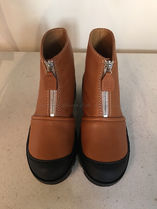 LOEWE Round Toe Rubber Sole Casual Style Bi-color Plain Leather